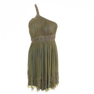 One Shoulder Parsley Sequins Silk Mini Dress 6